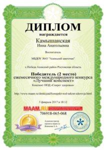 Камышанская 2место Лучший конспект 03.02.17г.