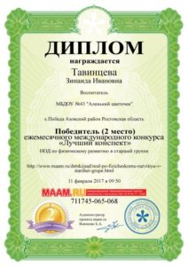 Тавинцева 2 место НОД 11.02.17